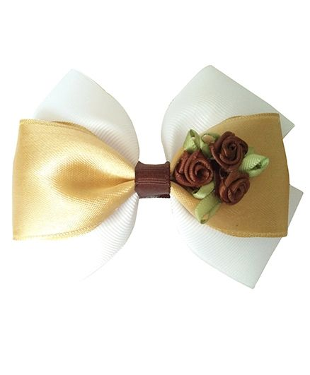 Keiras Pretties Party Bow With Brown Rossettes Aligator Clip - White & Golden