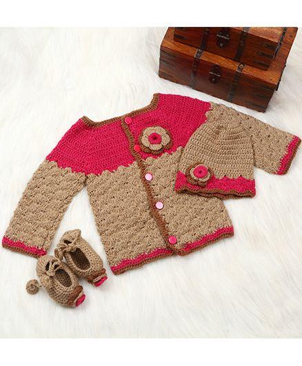 The Original Knit Sweater Booties & Cap Set - Beige & Pink