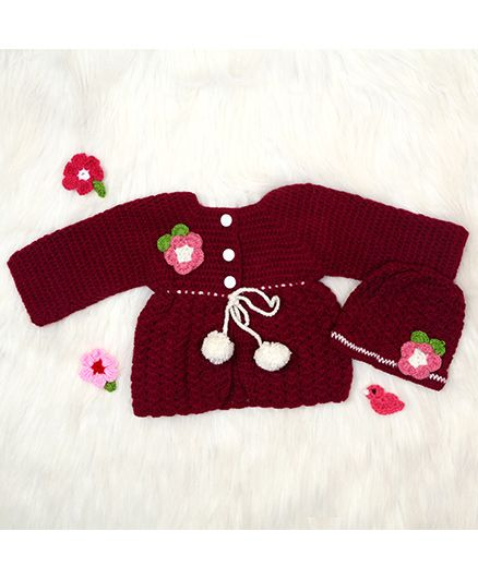 The Original Knit Sweater & Cap Set - Burgundy