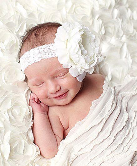 Akinos Kids Netted Bow Headband - White