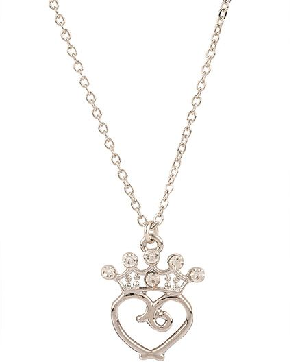 NeedyBee Rhinestone Studded Heart & Crown Charm Pendant Necklace - Silver
