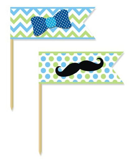 Prettyurparty Little Man Theme Picks - Pack Of 20