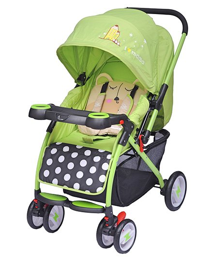 R for Rabbit Cuppy Cake Pram Cum Stroller Panda Face Print - Green