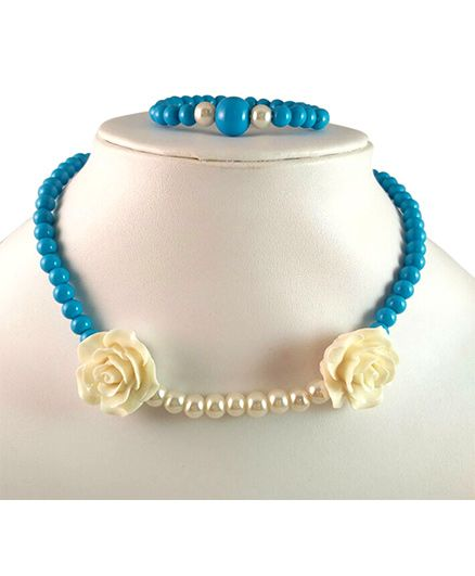 Tiny Closet Two Roses Necklace & Bracelet - Blue