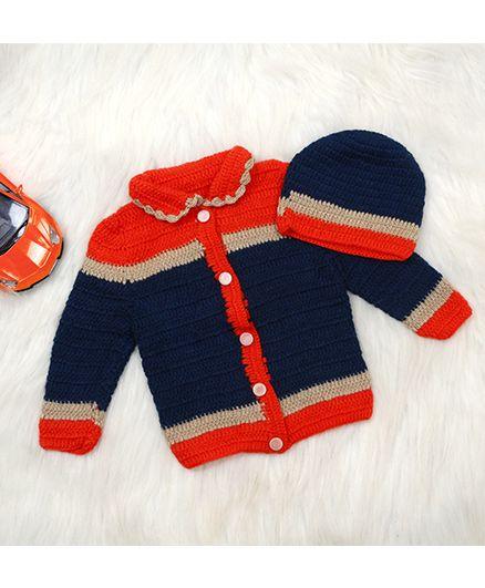 The Original Knit Sweater & Cap - Blue & Red