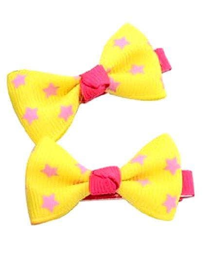 Angel Closet Star Print Bow Hair Clips Yellow - Pair Of 2