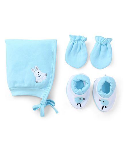 Child World Cap Mittens And Booties Set Rabbit Design - Aqua Blue