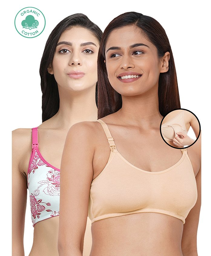 Inner Sense Organic Antimicrobial Nursing Bra Pack Of 2 - Beige White