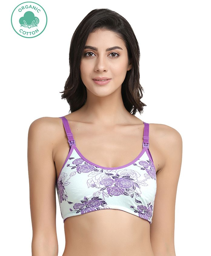 Inner Sense Organic Antimicrobial Nursing Bra Floral Print - White Purple