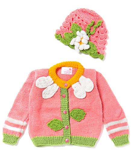 The Original Knit Sweater & Cap Set - Pink