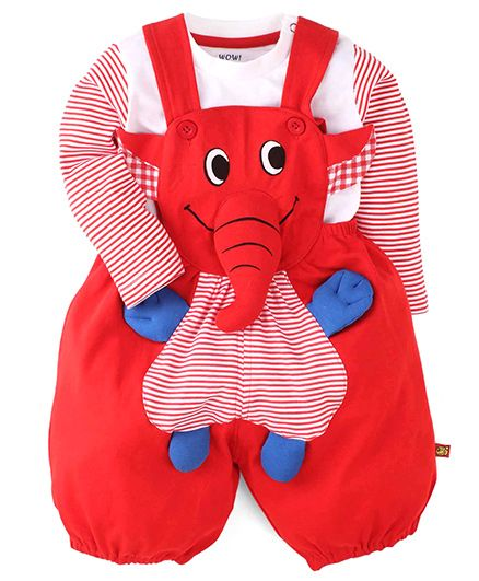 Wow Clothes Elephant Applique Dungaree With T-Shirt - Red