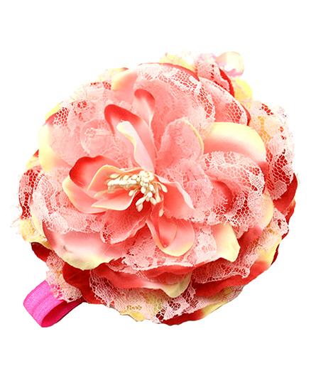 Bellazaara Big Flower Lace Headband - Pink & Red