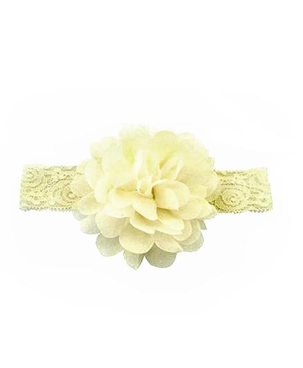 Bellazaara Large Flower Headband With Elastic - Ivory