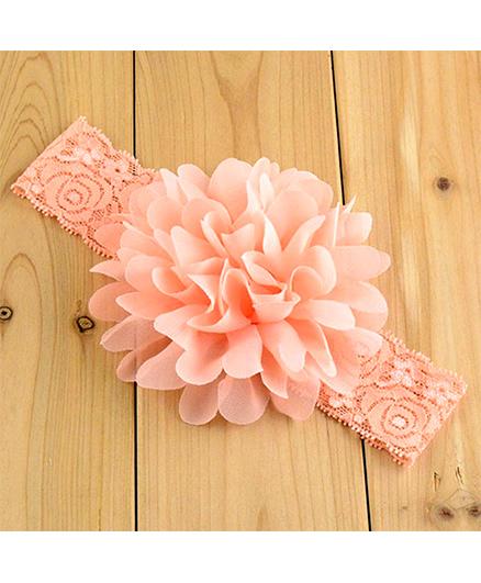 Bellazaara Large Flower Headband With Elastic - Peach