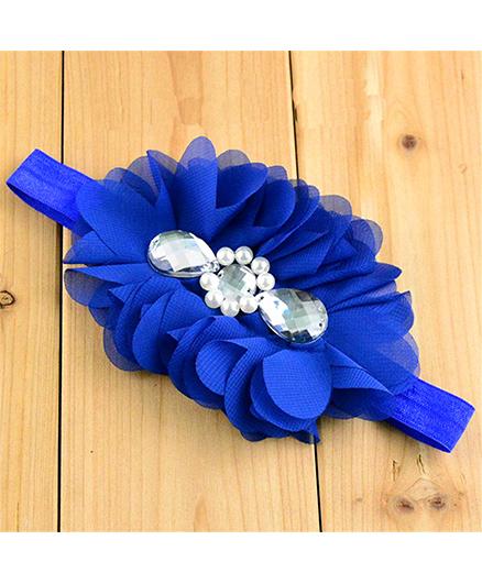 Bellazaara Flower With Crystal Headband - Blue