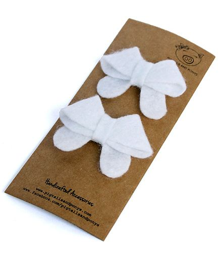 Pigtails & Ponys Sailor Bow Clip - White