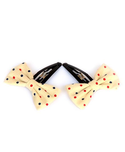 Pigtails & Ponys Polka Dot Bow Clips - Cream