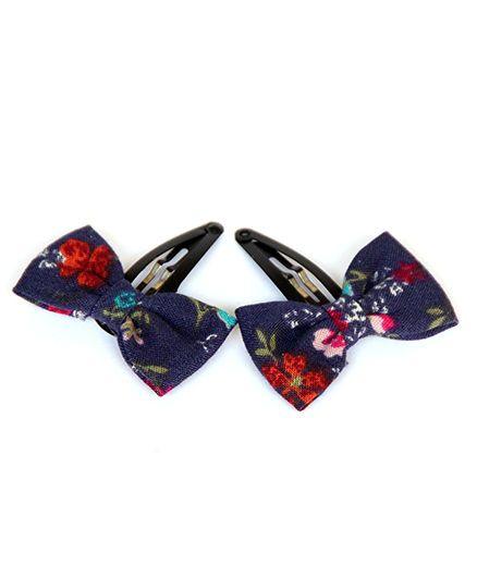 Pigtails & Ponys Floral Bow Clips - Blue