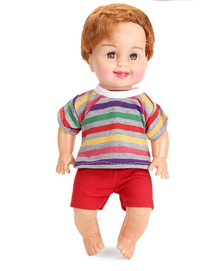 Speedage Mannu Doll In T-Shirt & Shorts Multi Color - Height 31.5 cm