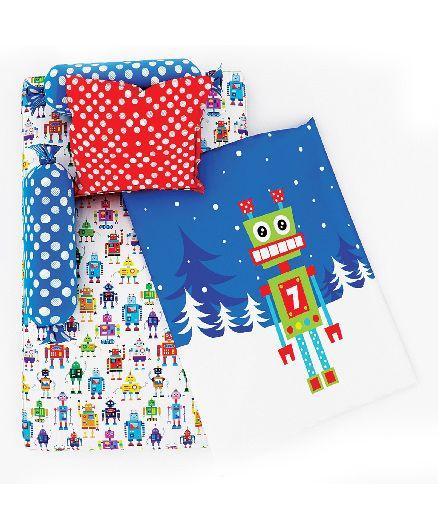 Fancy Fluff 6 Piece Premium Baby Mattress Set Robot Design - Blue White
