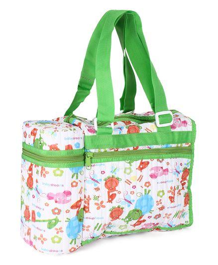 Morisons Baby Dreams Bag With Feeding Bottle Holder Animal Print - Green
