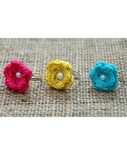 Knotty Ribbons Set Of Adjustable Three Rings with Handamde Crochet Flower - Pink, Yellow & Blue