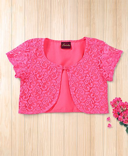 Twisha Beautiful Lace Shrug - Hot Pink