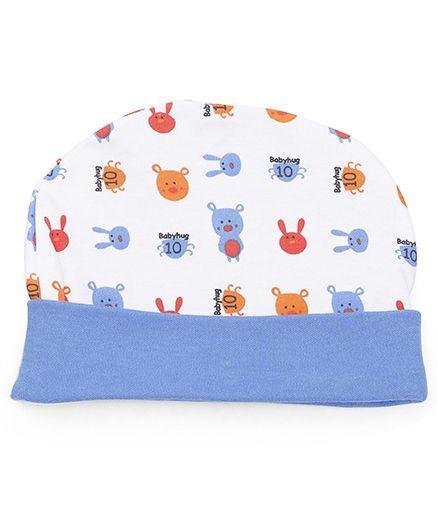 Babyhug Cap Bunny Print - Blue White