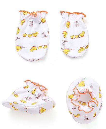 Babyhug All Over Duck Print Mittens And Booties Set - White & Yellow