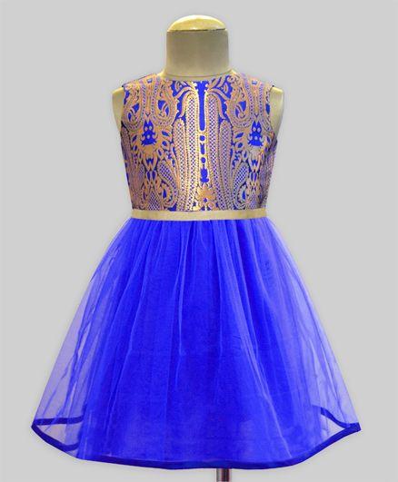 A.T.U.N Paisley Brocade Tulle Swirl Dress - Multicolour & Blue