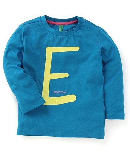 UCB Full Sleeves T-Shirt Alphabet Print - Blue
