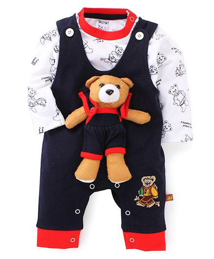 Wow Teddy Bear Appliqued Romper With T-Shirt - Navy & White