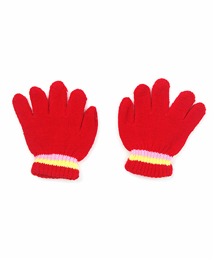 Babyhug Gloves Solid Color And Stripes Print - Red