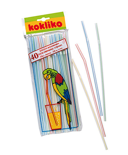 Partymanao Drinking Straws Stripped Flexi Straws Multicolor - Pack Of 40