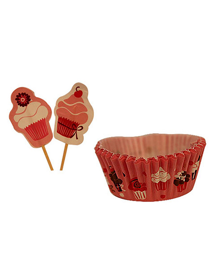 Partymanao Paper Cup Cake Set Pack Of 20 - Red
