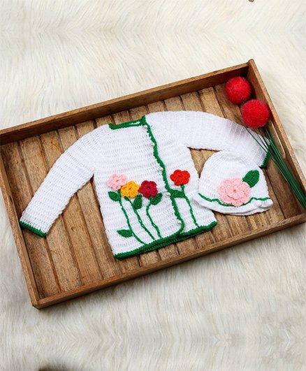 The Original Knit Crochet Flower Applique Sweater & Hat Set - White
