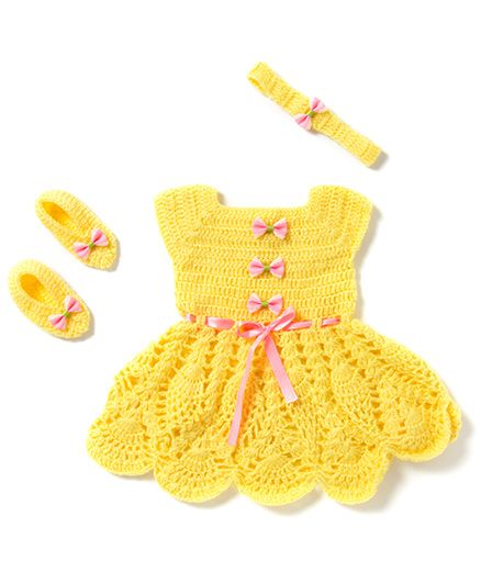 The Original Knit Pineapple Pattern Dress Hairband & Booties Set - Yellow