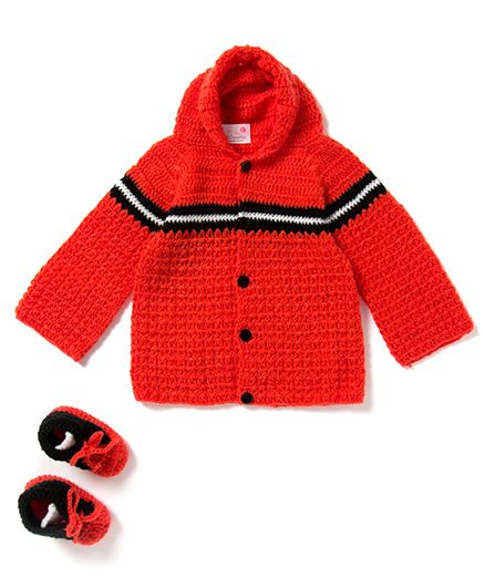 The Original Knit Single Striped Hooded Sweater With Booties - Orange