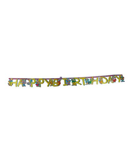 Partymanao Happy Birthday Letter Banner Clown - Yellow