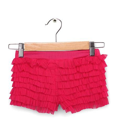 Soul Fairy Net Ruffle Divided Skirt - Fuchsia