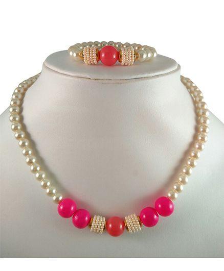 Tiny Closet Pearl Necklace & Bracelet Set - Pink & Orange