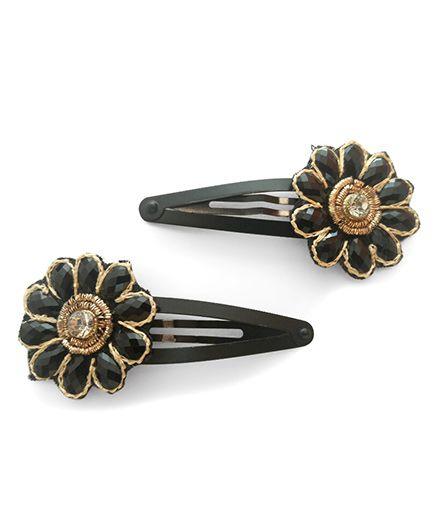 Tiny Closet Set Of 2 Stone Flower Hair Clips - Black
