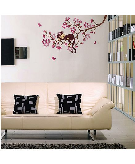 Syga Cute Monkey Sleeping On Branch Decals Design Wall Stickers - Pink Brown
