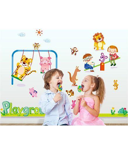 Syga Animal Park Cartoon Living Room Kids Room Decals Design Wall Stickers - Multicolour