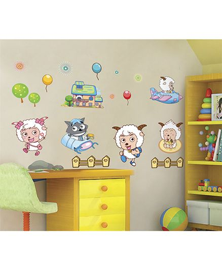 Syga Goat And Wolf Grey Decals Design Wall Stickers - Multicolour