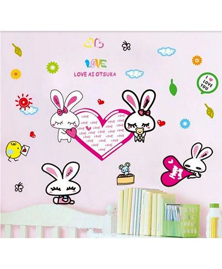 Syga Lovely Rabbit Wall Stickers Decals Design - Multicolour