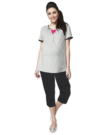 Nine Maternity Pyjama Set - Grey Melange
