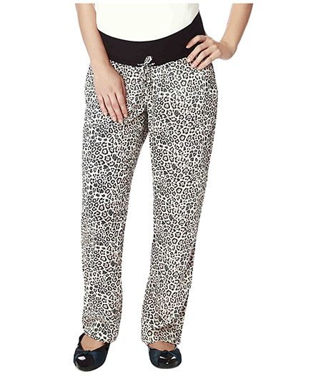 Nine Full Length Maternity Pyjama In Animal Print - Black & White