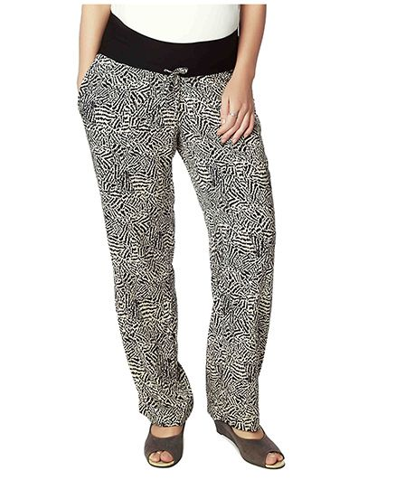 Nine Full Length Maternity Printed Pyjama - Black & Off White