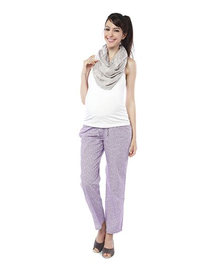 Nine Full Length Maternity Printed Pyjama - Lavender